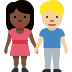 👩🏿‍🤝‍👨🏼 woman and man holding hands: dark skin tone, medium-light skin tone Emoji on Facebook Platform