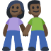 👫🏿 woman and man holding hands: dark skin tone Emoji on Facebook Platform