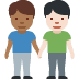 👨🏾‍🤝‍👨🏻 men holding hands: medium-dark skin tone, light skin tone Emoji on Facebook Platform