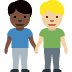 👨🏿‍🤝‍👨🏼 men holding hands: dark skin tone, medium-light skin tone Emoji on Facebook Platform