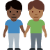 👨🏿‍🤝‍👨🏾 men holding hands: dark skin tone, medium-dark skin tone Emoji on Facebook Platform