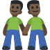 👬🏿 Dark Skin Tone Men Holding Hands Emoji on Facebook Platform