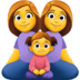 👩👩👧 family: woman, woman, girl Emoji on Facebook Platform