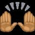 🙌🏾 raising hands: medium-dark skin tone Emoji on Facebook Platform