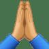 🙏🏽 folded hands: medium skin tone Emoji on Facebook Platform