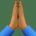 🙏🏾 folded hands: medium-dark skin tone Emoji on Facebook Platform