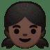 👧🏿 girl: dark skin tone Emoji on Google Platform