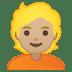👱🏼 person: medium-light skin tone, blond hair Emoji on Google Platform