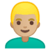 👱🏼‍♂️ man: medium-light skin tone, blond hair Emoji on Google Platform