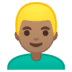 👱🏽‍♂️ man: medium skin tone, blond hair Emoji on Google Platform
