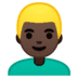 👱🏿‍♂️ man: dark skin tone, blond hair Emoji on Google Platform