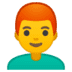 👨‍🦰 man: red hair Emoji on Google Platform