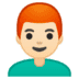 👨🏻🦰 man: light skin tone, red hair Emoji on Google Platform