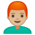 👨🏼‍🦰 man: medium-light skin tone, red hair Emoji on Google Platform