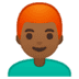 👨🏾🦰 man: medium-dark skin tone, red hair Emoji on Google Platform