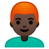 👨🏿‍🦰 man: dark skin tone, red hair Emoji on Google Platform