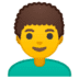 👨‍🦱 man: curly hair Emoji on Google Platform