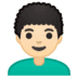 👨🏻‍🦱 man: light skin tone, curly hair Emoji on Google Platform