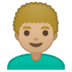 👨🏼‍🦱 man: medium-light skin tone, curly hair Emoji on Google Platform