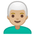 👨🏼‍🦳 man: medium-light skin tone, white hair Emoji on Google Platform