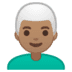 👨🏽‍🦳 man: medium skin tone, white hair Emoji on Google Platform