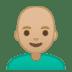 👨🏼🦲 man: medium-light skin tone, bald Emoji on Google Platform