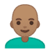 👨🏽‍🦲 Medium Skin Tone Bald Man Emoji on Google Platform