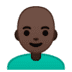 👨🏿‍🦲 man: dark skin tone, bald Emoji on Google Platform
