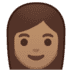 👩🏽 woman: medium skin tone Emoji on Google Platform
