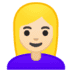 👱🏻‍♀️ woman: light skin tone, blond hair Emoji on Google Platform