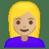 👱🏼♀️ woman: medium-light skin tone, blond hair Emoji on Google Platform
