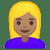 👱🏽♀️ woman: medium skin tone, blond hair Emoji on Google Platform