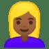 👱🏾♀️ woman: medium-dark skin tone, blond hair Emoji on Google Platform