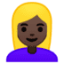 👱🏿♀️ woman: dark skin tone, blond hair Emoji on Google Platform