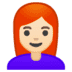 👩🏻‍🦰 Light Skin Tone Red Hair Woman Emoji on Google Platform