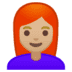 👩🏼‍🦰 woman: medium-light skin tone, red hair Emoji on Google Platform