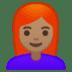 👩🏽🦰 woman: medium skin tone, red hair Emoji on Google Platform
