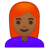 👩🏾‍🦰 woman: medium-dark skin tone, red hair Emoji on Google Platform