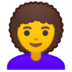👩‍🦱 woman: curly hair Emoji on Google Platform