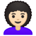 👩🏻‍🦱 woman: light skin tone, curly hair Emoji on Google Platform