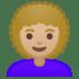 👩🏼🦱 woman: medium-light skin tone, curly hair Emoji on Google Platform