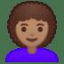 👩🏽🦱 Medium Skin Tone Curly Hair Woman Emoji on Google Platform