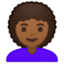 👩🏾‍🦱 woman: medium-dark skin tone, curly hair Emoji on Google Platform