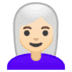 👩🏻‍🦳 woman: light skin tone, white hair Emoji on Google Platform
