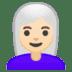 👩🏻🦳 woman: light skin tone, white hair Emoji on Google Platform