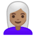👩🏽‍🦳 woman: medium skin tone, white hair Emoji on Google Platform
