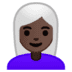 👩🏿‍🦳 woman: dark skin tone, white hair Emoji on Google Platform
