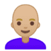 👩🏼‍🦲 woman: medium-light skin tone, bald Emoji on Google Platform