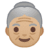 👵🏼 old woman: medium-light skin tone Emoji on Google Platform