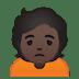 🙍🏿 person frowning: dark skin tone Emoji on Google Platform